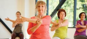 Senior women stretching