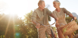 Shot of a senior couple out for a bike ride