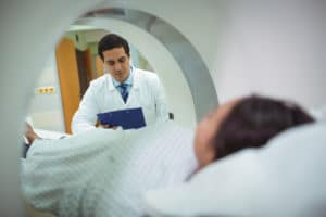 Patient entering an MRI machine