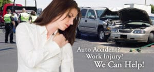 Woman after an auto accident