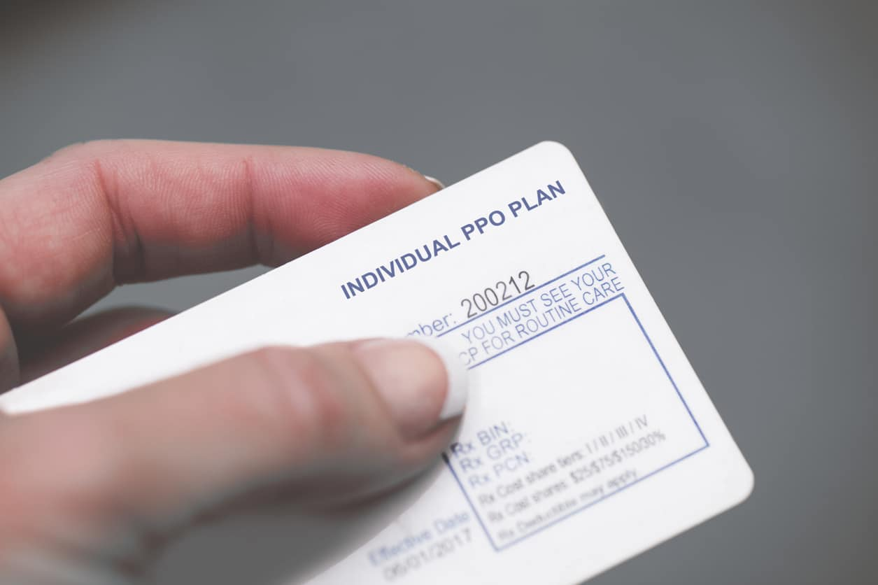 A US health insurance card (Individual PPO Plan)
