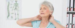 Senior woman with a sore neck