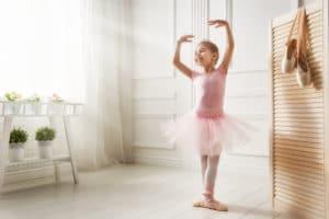 Little girl in a pink ballet tutu