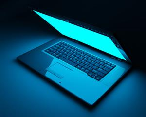 Laptop computer in blue light