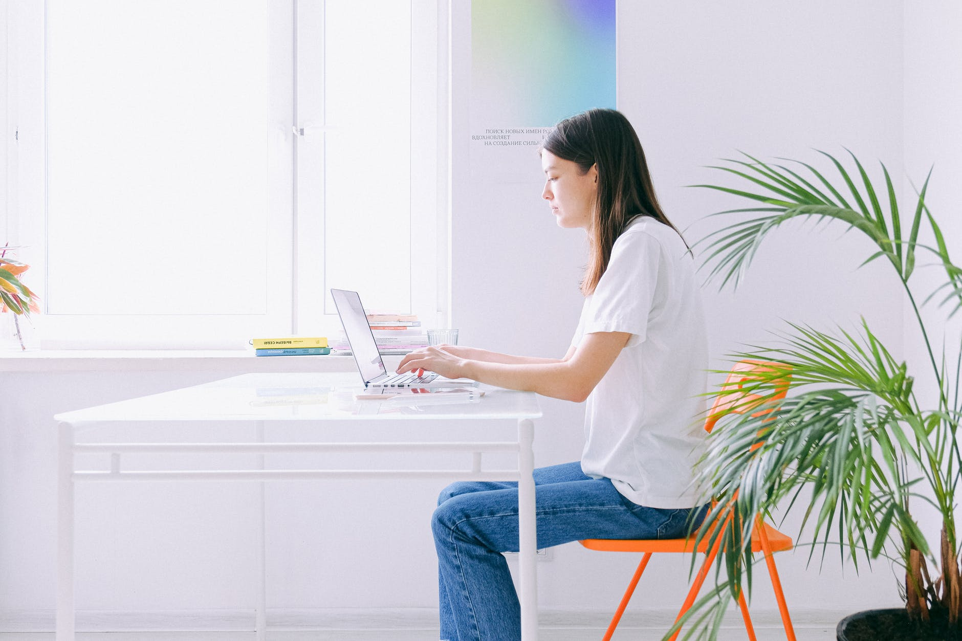 Woman sitting at a home office