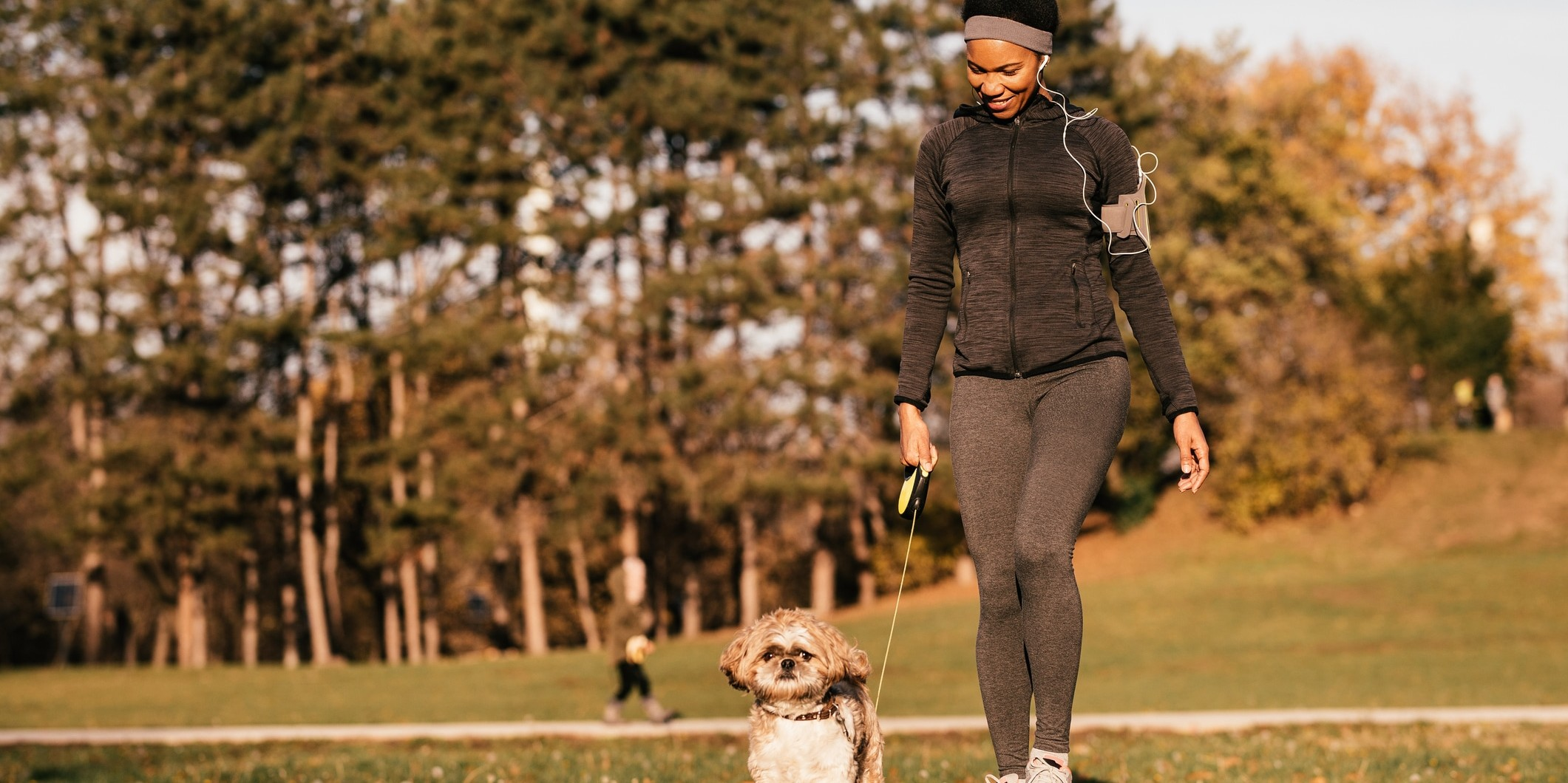 person walking dog in a park