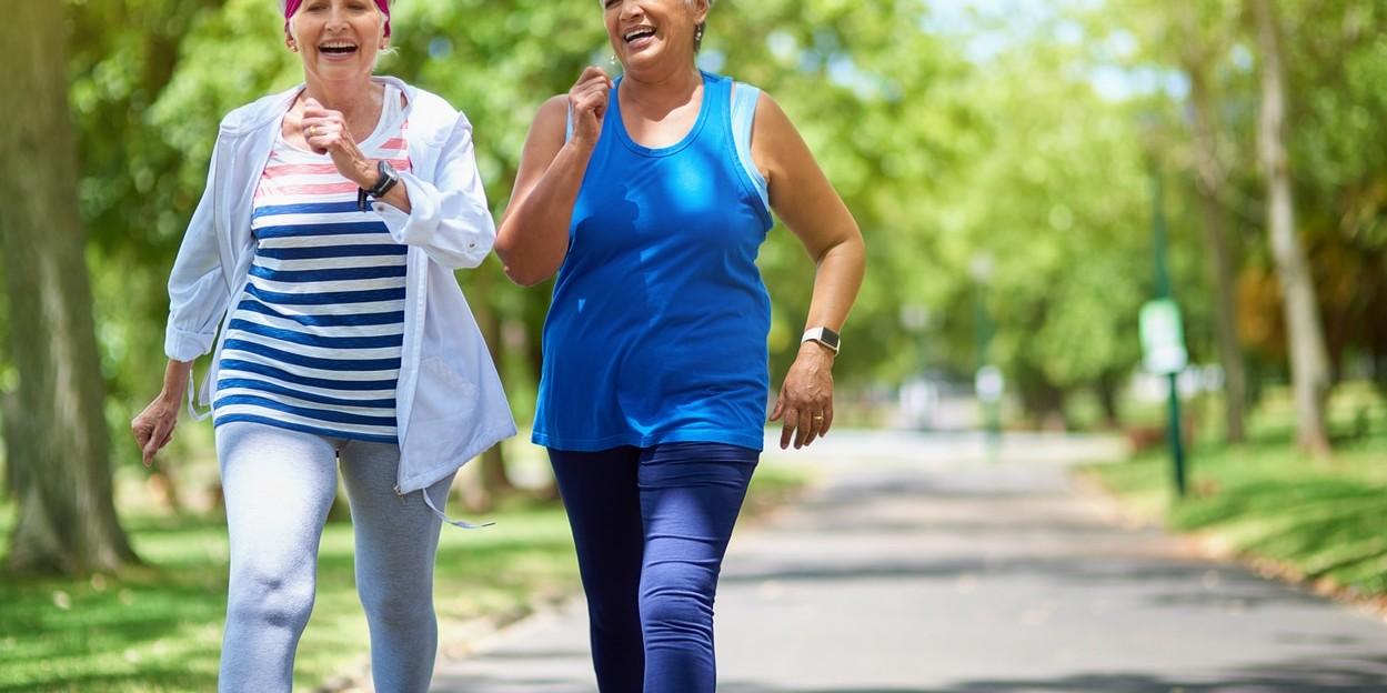 Two women walking